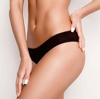 Lower torso of woman in underwear